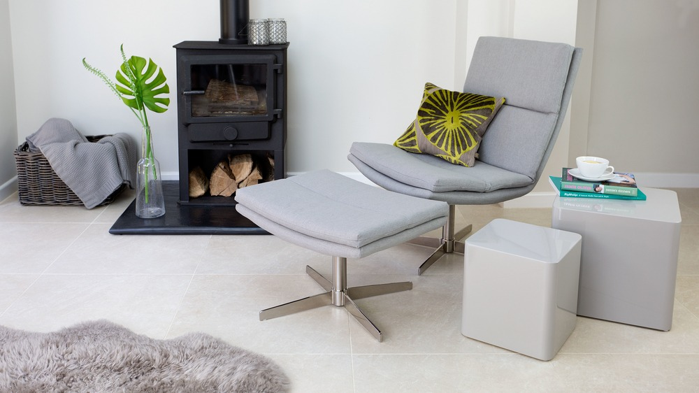 Light Grey Lounge Chair and Foot Stool