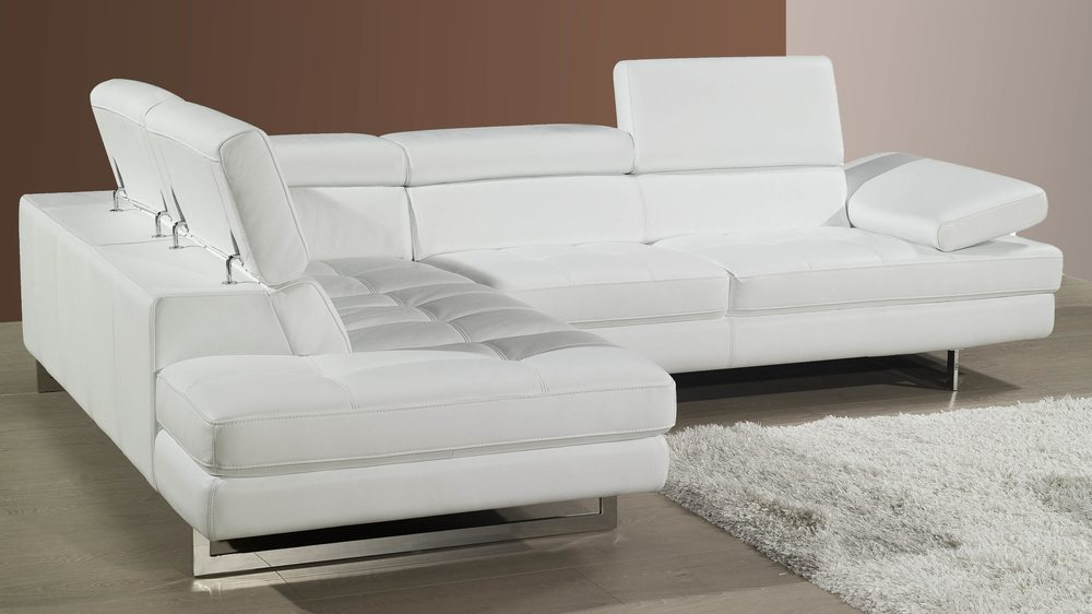Modern Leather Corner Sofa Adjustable Headrests and Armrest