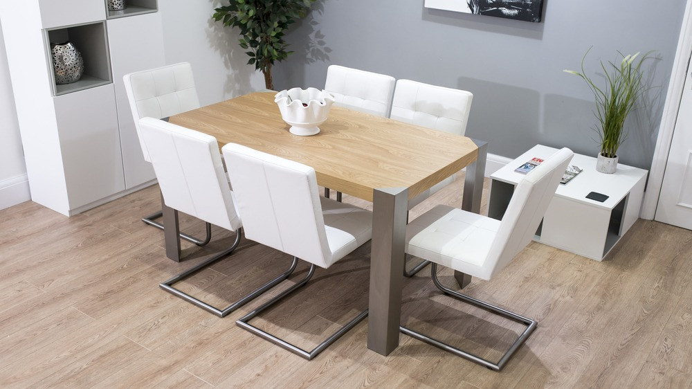 Modern Oak Dining Table with White Dining Chairs