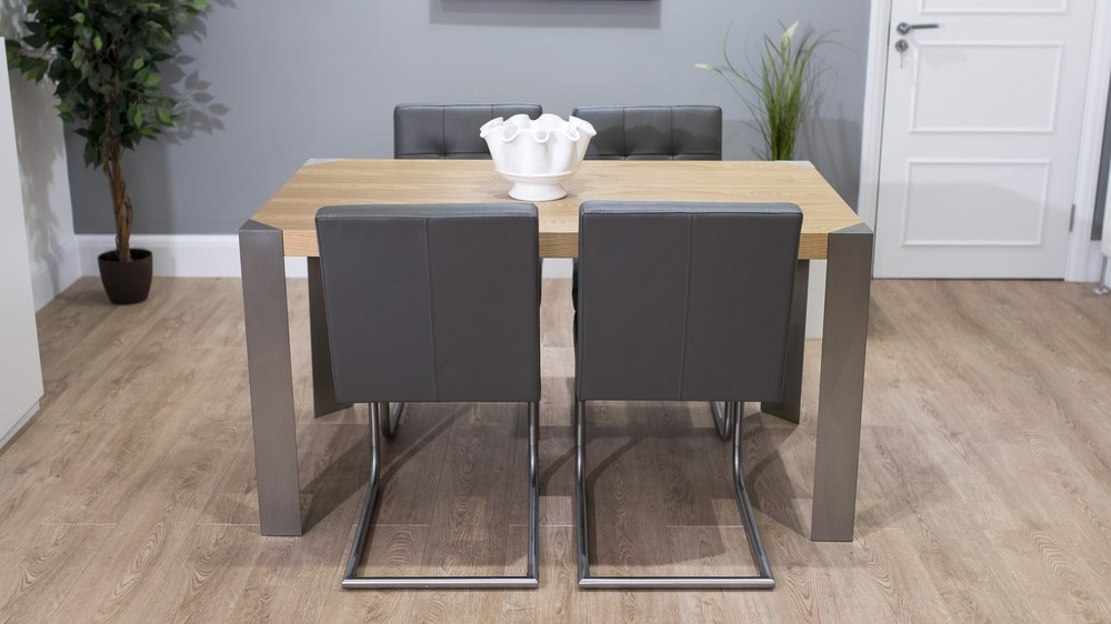 Grey Real Leather Cantilever Dining Chairs and Oak Dining Table