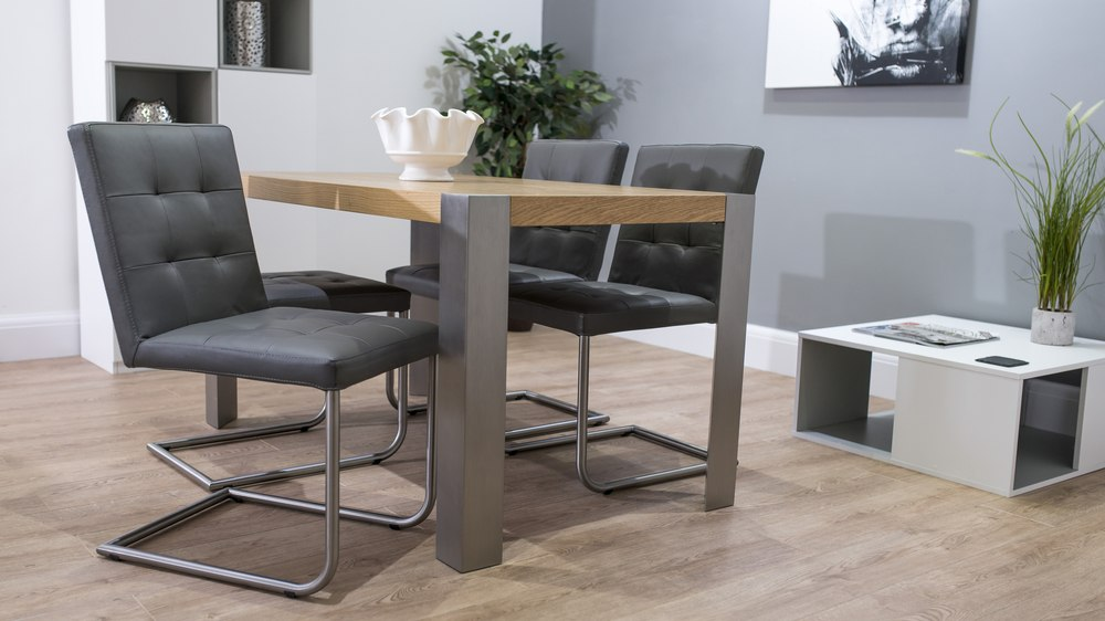 Stylish Brushed Metal Based Dining Table and Chairs
