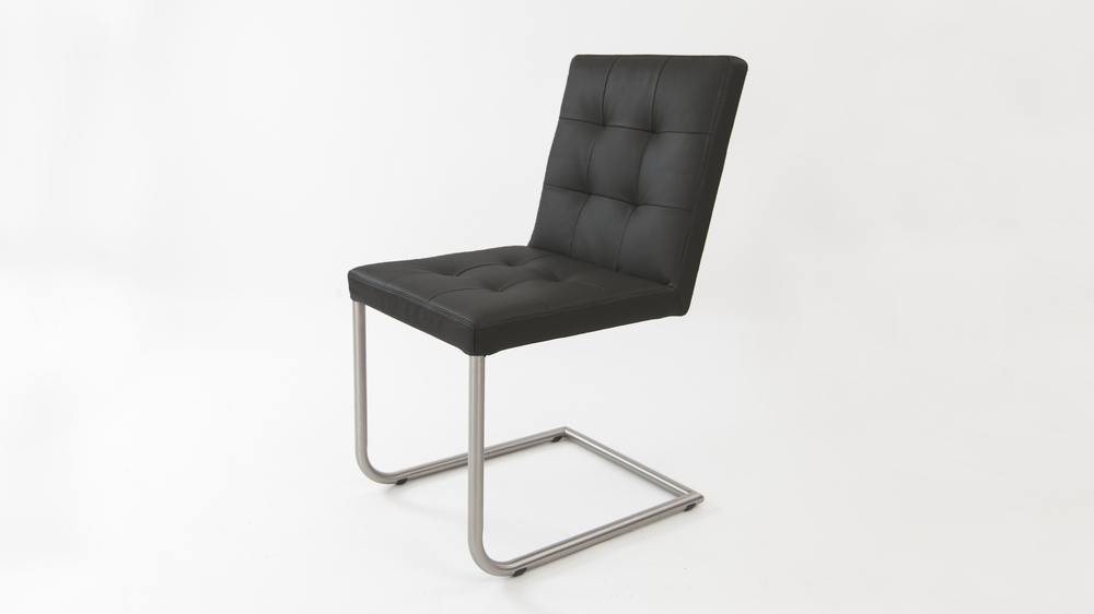 Black Real Leather Cantilever Dining Chair
