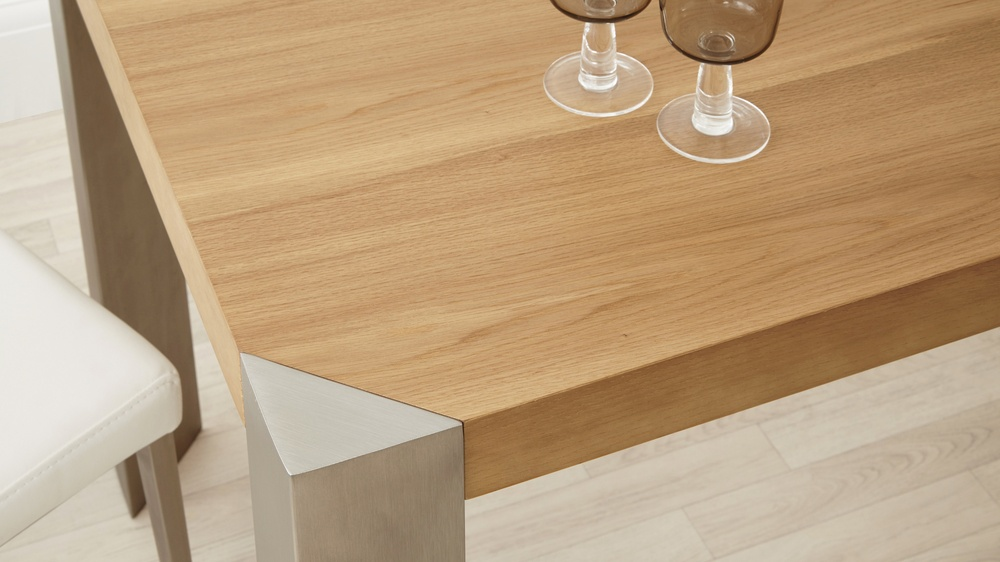 Wood Dining Table with Brushed Metal Legs