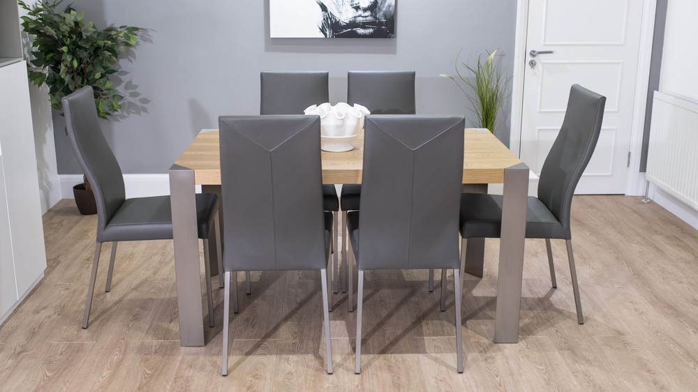 Modern Oak Dining Table with Real Leather Dining Chairs