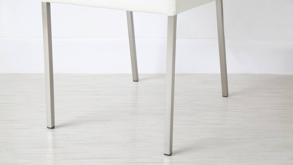 Modern Dining Chair with Brushed Metal Legs
