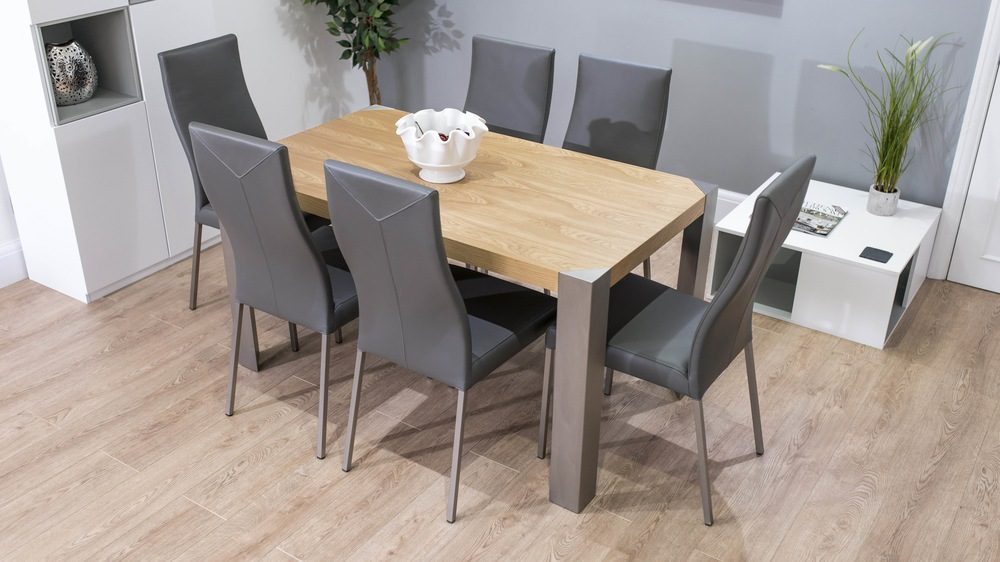 4-6 Seater Dining Table and Grey Dining Chairs