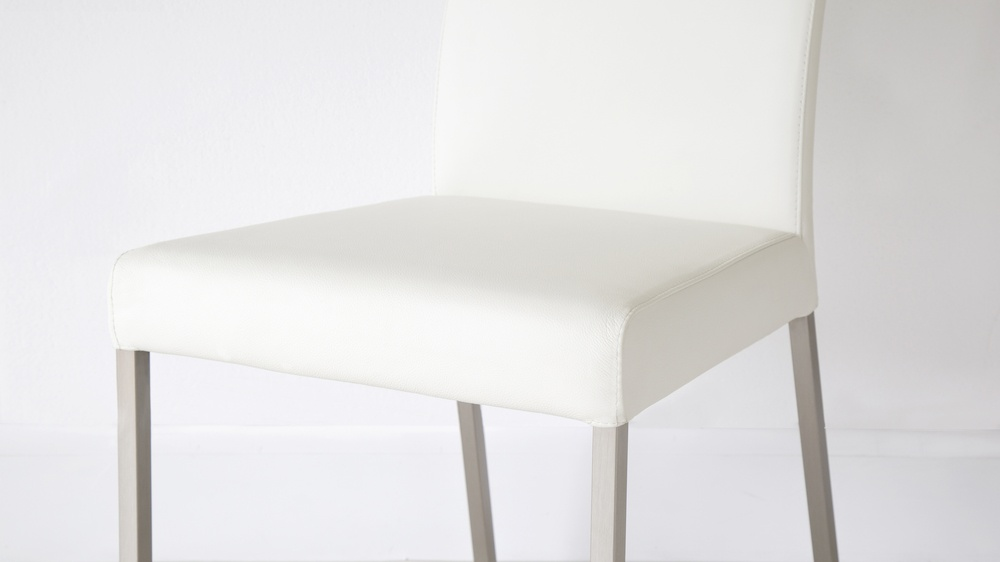 White Real Leather and Metal Dining Chairs