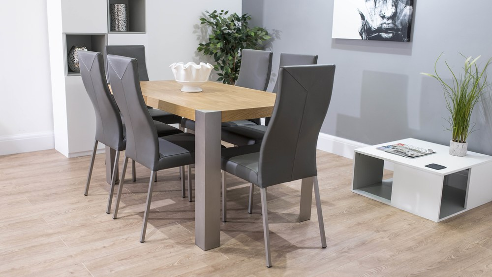 Stylish Large Dining Table and Real Leather Dining Chairs