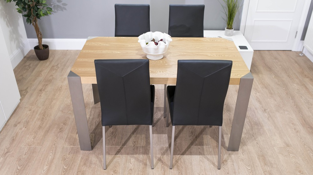 Oak and Brushed Metal Dining Table and Black Dining Chairs