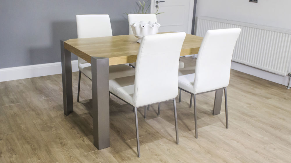 Contemporary Modern Oak Dining Table And Faux Leather