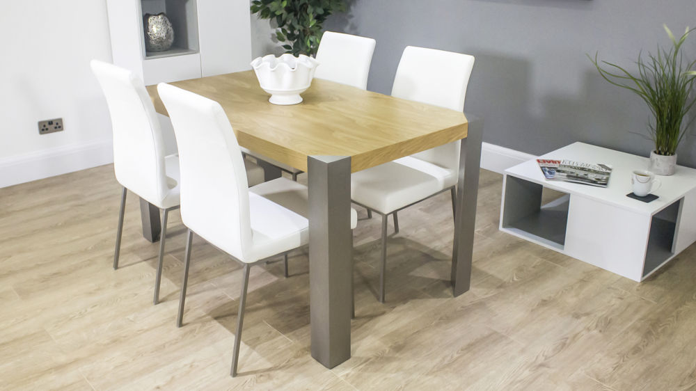 Modern 4-6 Seater Dining Table with White Dining Chairs