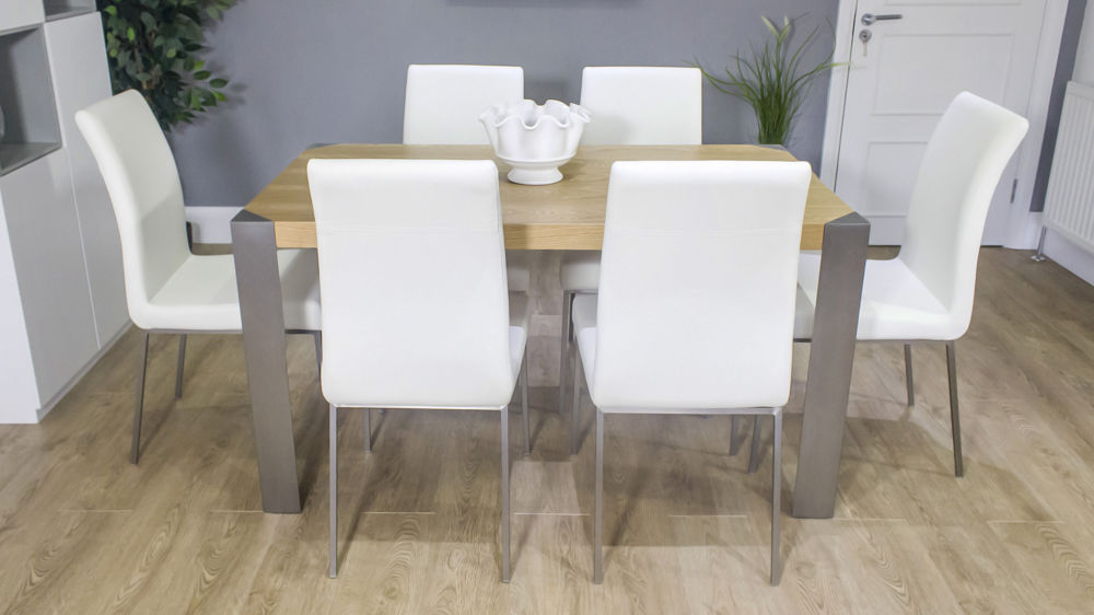 Large Oak Dining Table with White Leather Dining Chairs