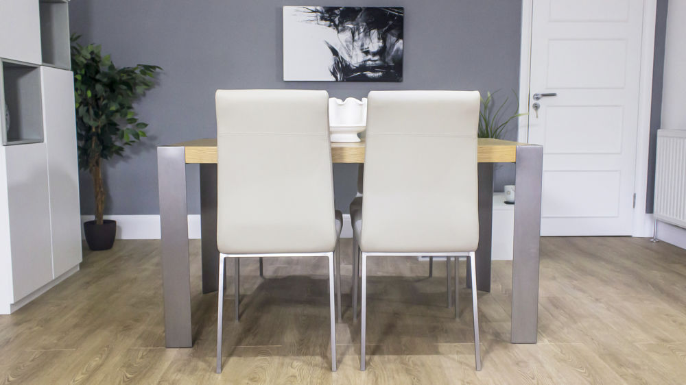 Contemporary Oak Dining Table with Beige Dining Chairs
