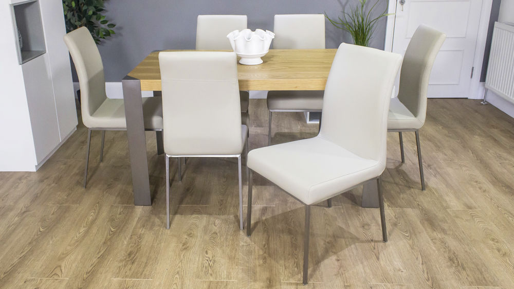 Large Oak Dining Table with Faux Leather Dining Chairs