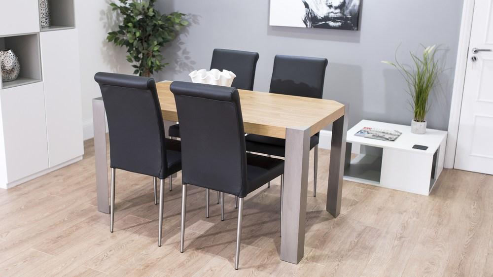 Black Real Leather Dining Chairs and 4-6 Seater Dining Table