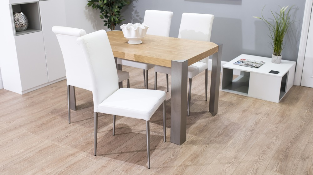 Modern White and Oak Dining Set