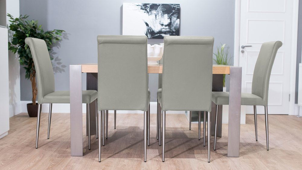 Light Grey and Oak Dining Set