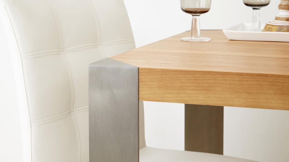 Brushed Metal Legged Dining Table