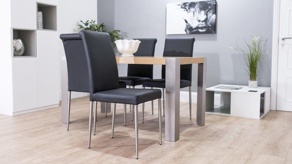 Stylish Black Dining Chairs and Modern Oak Dining Table