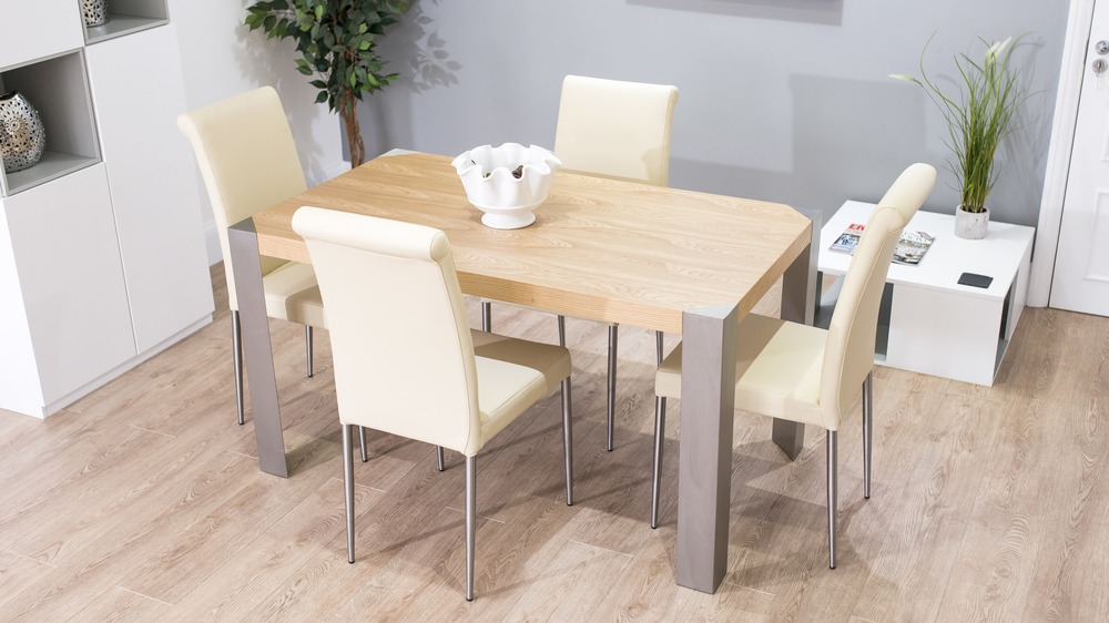 Contemporary Real Leather Dining Chairs and Oak Dining Table