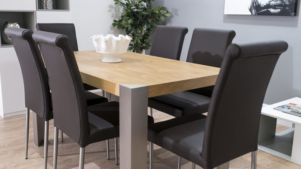 6 Seater Modern Oak and Real Leather Dining Chairs
