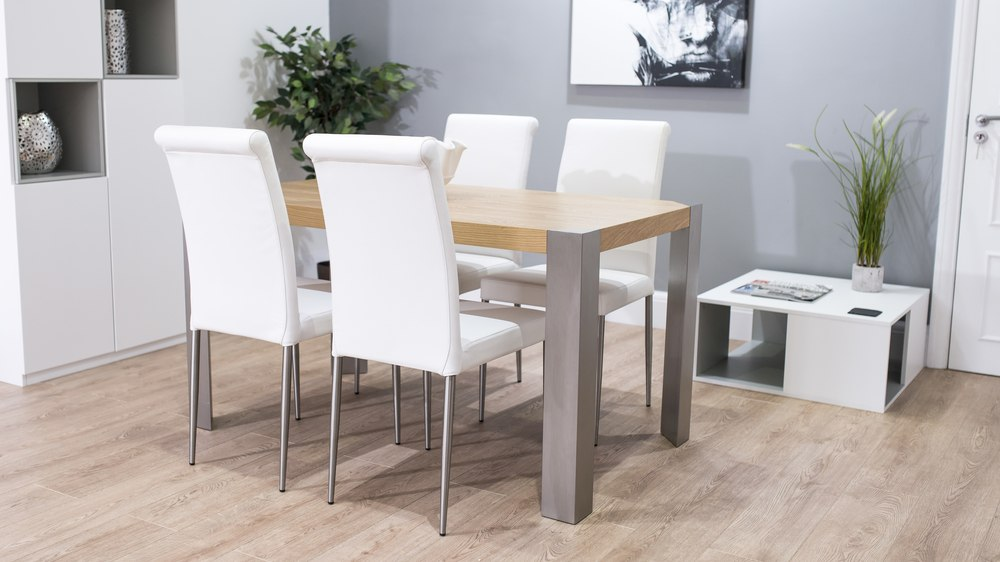 White Dining Chairs and Large Rectangular Dining Table