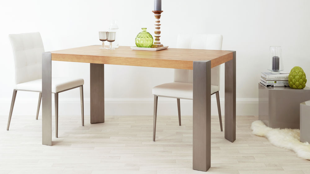 Modern Oak And Brushed Metal Legged Dining Table