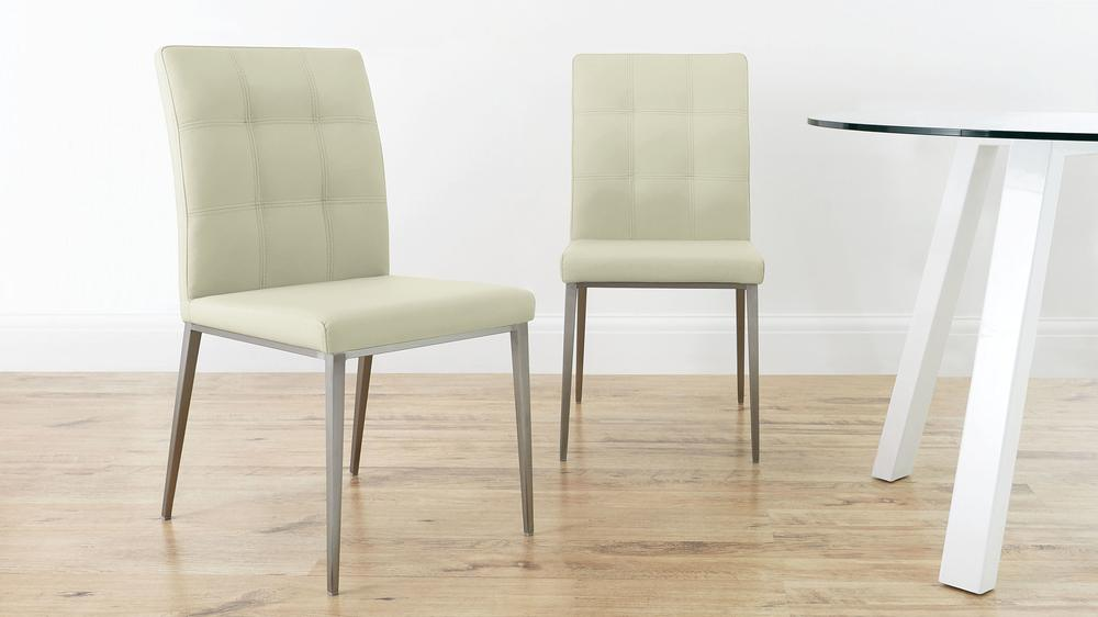 Modern Quilted Cream Leather Dining Chairs