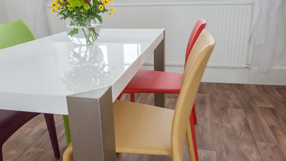 Coloured Dining Chairs and High Gloss Dining Table