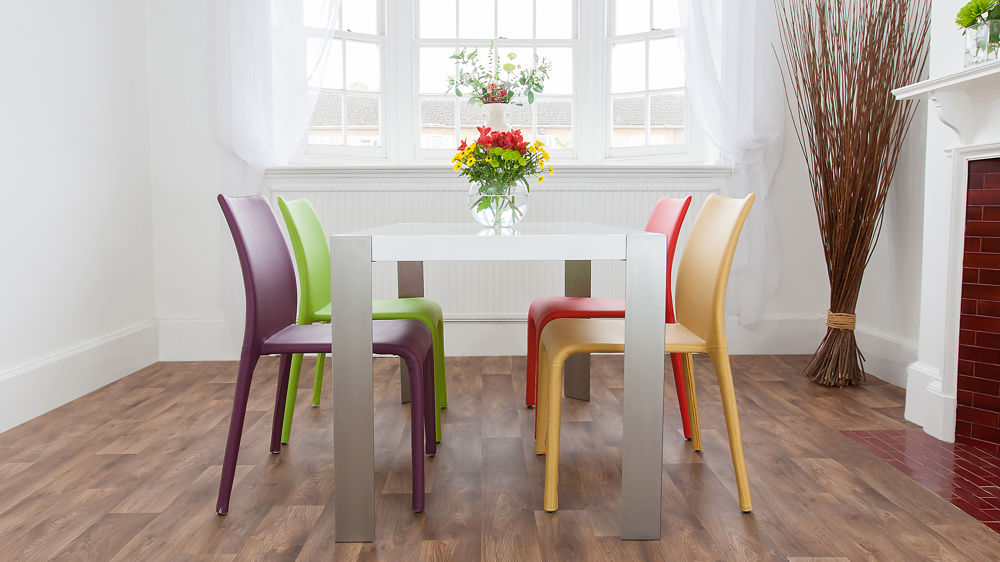 Modern Coloured Dining Chairs and White Gloss Dining Table