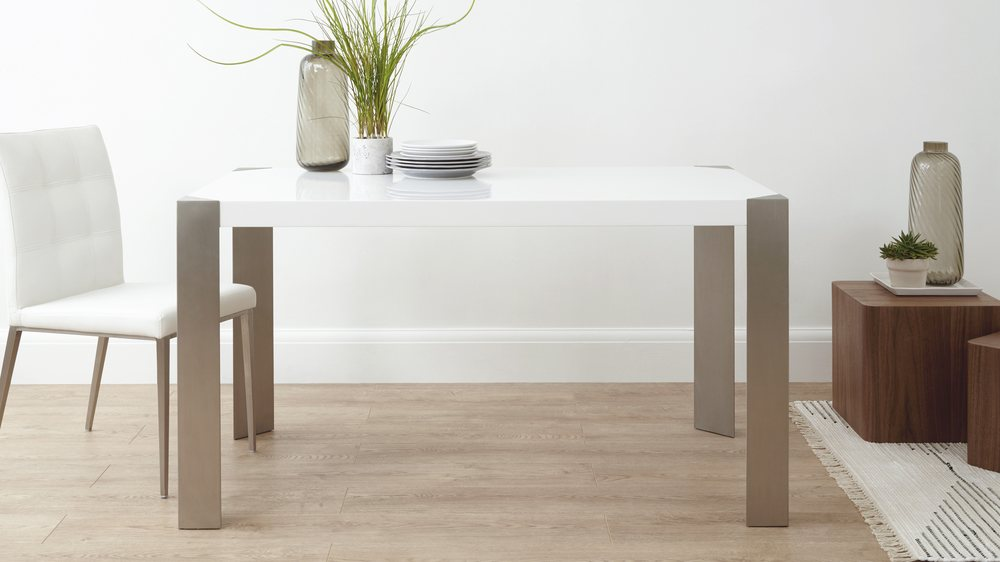 Contemporary White Gloss and Brushed Metal Dining Table
