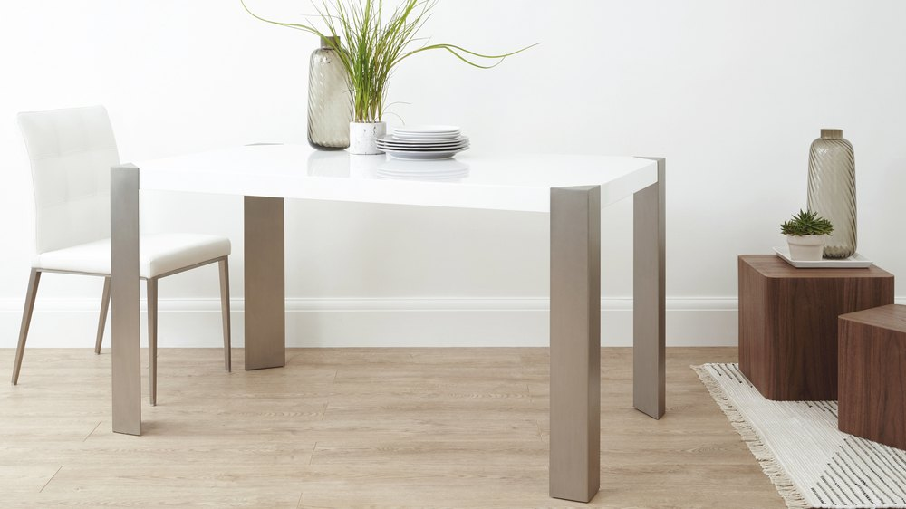 White Gloss and Brushed Metal Dining Table