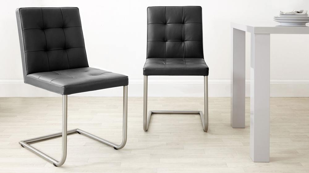 Stylish Black Leather Dining Chairs