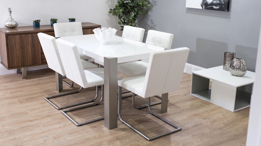 6 Seater Dining Table and White Real Leather Dining Chairs