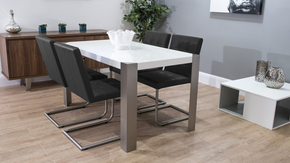Black Cantilever Dining Chairs and White Gloss Table