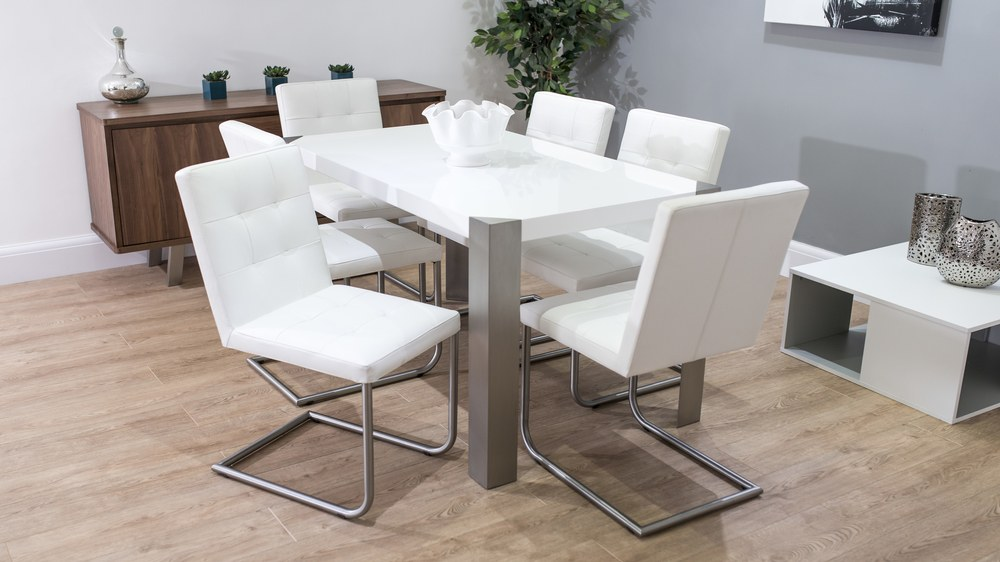 Swing Dining Chairs and Large White Dining Table