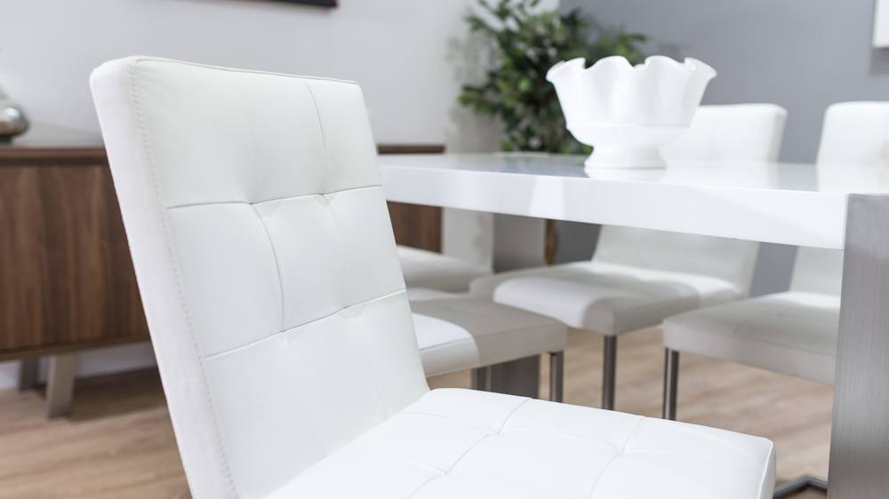 Stylish White Gloss and Real Leather Dining Set