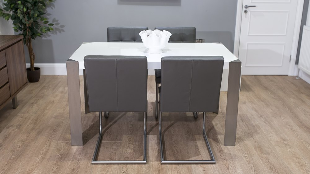 Grey Cantilever Dining Chairs and White Gloss Dining Table