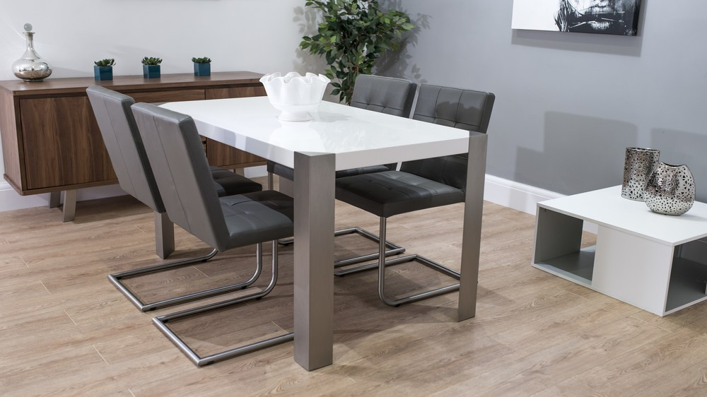 Real Leather Cantilever Dining Chairs and White Dining Table