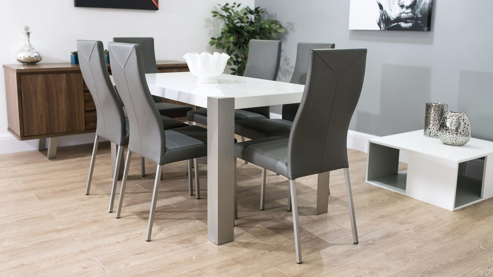 Large White Gloss and Real Leather Dining Set