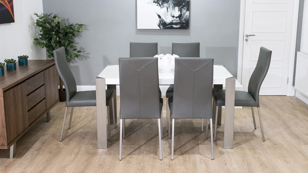 4-6 Seater Glossy Table and Grey Dining Chairs