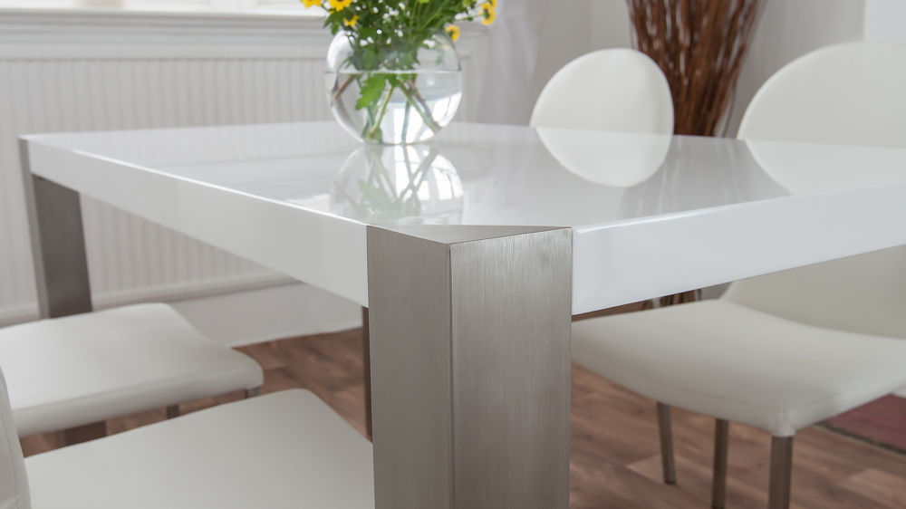 Brushed Metal Legged Dining Table with White Dining Chairs