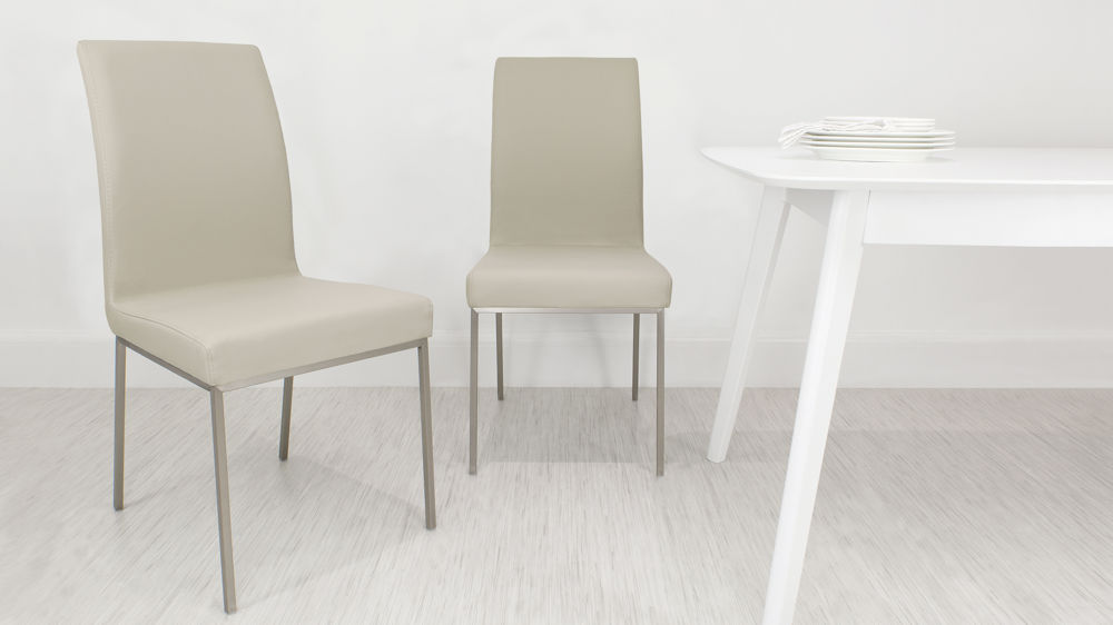 White High Gloss Table White Brown Or Beige Faux Leather Dining