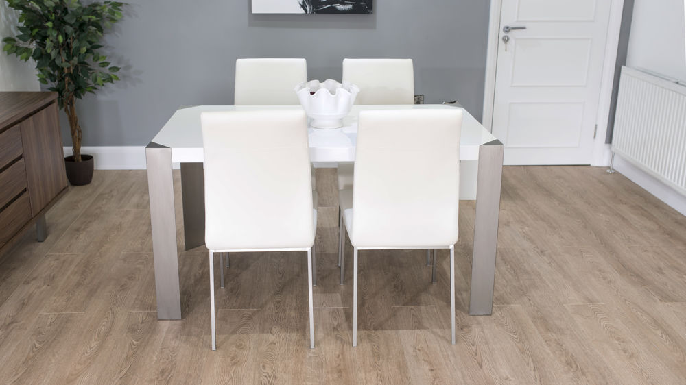 Stylish White Gloss Dining Table and Comfortable Dining Chairs
