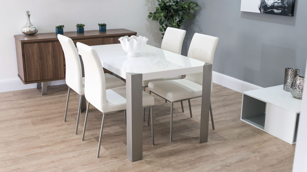 bf3beed82eed White Gloss Dining Table with Faux Leather Dining Chairs