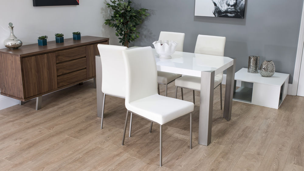 White Leather Dining Chairs and White Gloss Dining Table