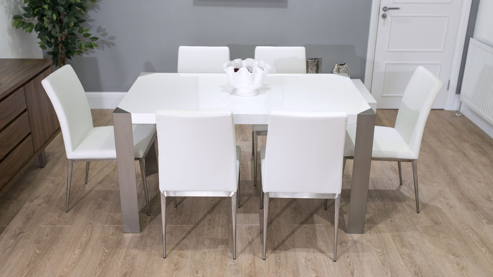 Modern White Gloss Dining Set For 4 6 People Funky Brushed Metal Legs