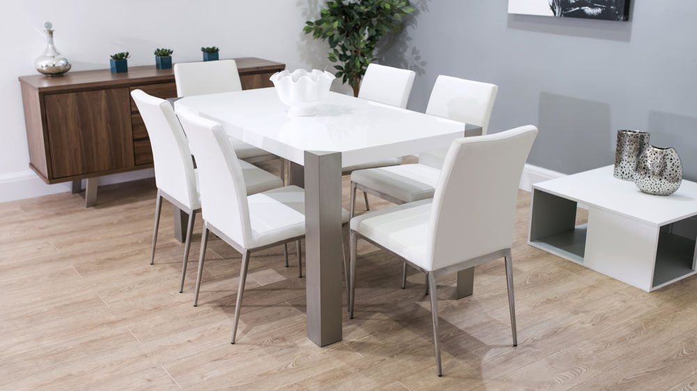4-6 Seater White Dining Set