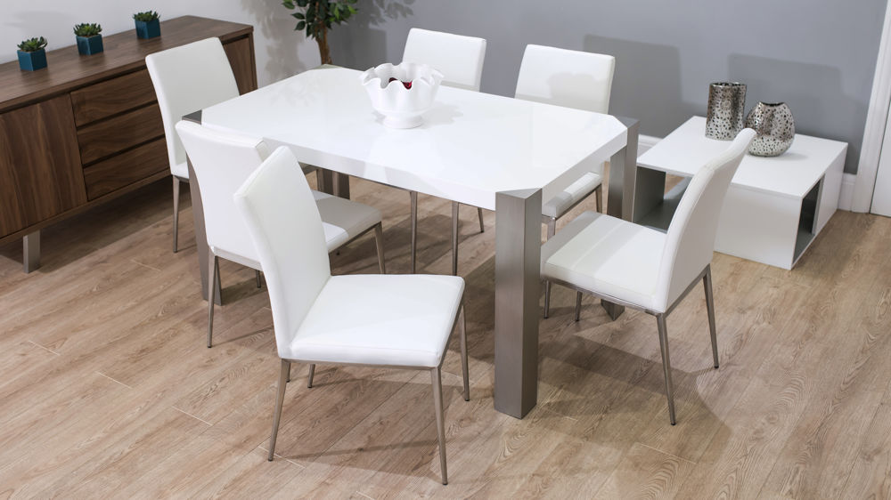 Comfortable Dining Chairs with White Gloss Dining Table