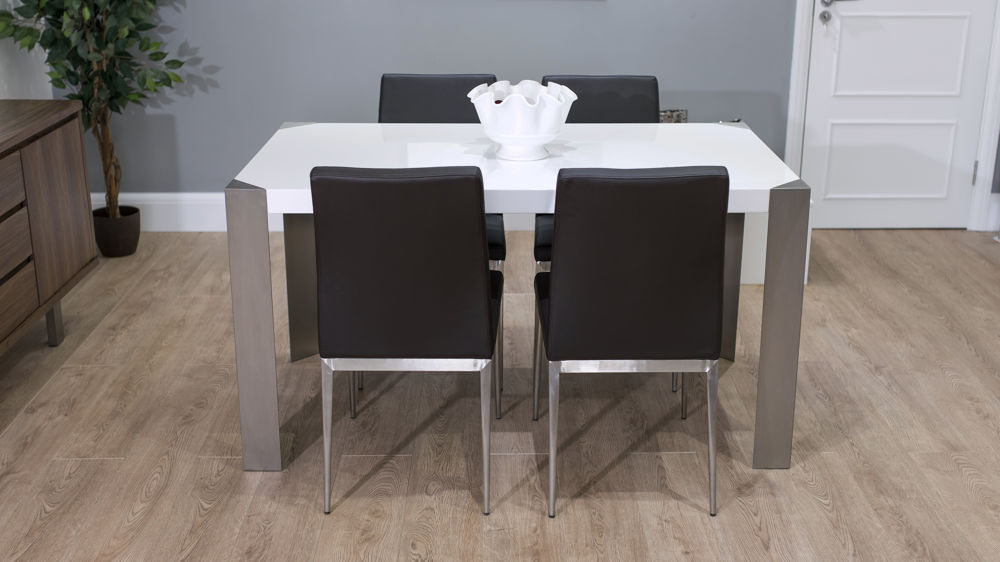Rectangular White Gloss Dining Table with Brown Chairs